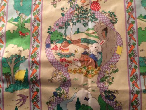 Easter Rabbit Cotton Chintz Fabric Floral Bunnies Cyrus Clark Company 2 Yards