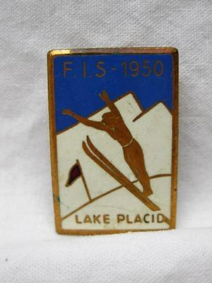 Ski Jumping FIS 1950 Lake Placid Ny Enamel Pin Button Badge Vintage Old Olympic