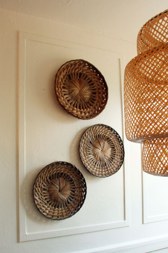 Wall Decor Bamboo baskets SET OF 3 Decorate House  Home Style Brown Neutral Art