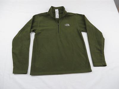 Used Northface Boys Green TKA 100 Fleece Zip Shirt Light Jacket Coat Youth Sz M