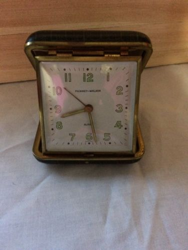 Vintage Phinney-Walker Wind up Travel Alarm Clock