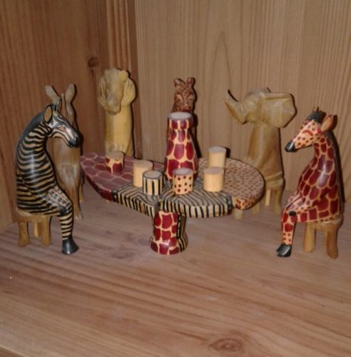 Tea Party African Jungle Safari Animals Wood Carved Set