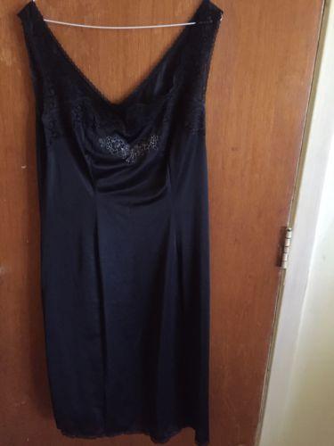 St Michael Mark & Spencer Black Full Slip Peticoat With Lace Trims Size 16 Uk 18