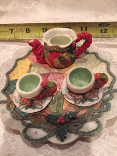 Miniature Tea Set - Quilted Holiday