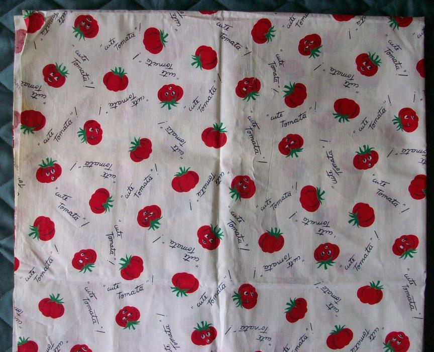 Vintage 1940s 1950s Cute Tomato Tomata! Cotton Fabric 1 1/4 yards OOP