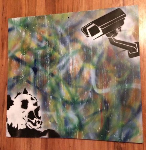 Panda Watch 20x18 Original Stencil Graffiti Ready To Hang Wall Art