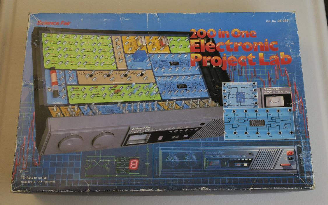 Vintage 80's Radio Shack Science Fair 200 In One Electronic Project Lab 28-265