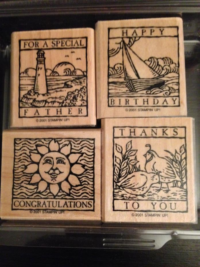 Stampin' Up! Wonderful Woodcuts- Complete Set of 4  wood mounted rubber stamps
