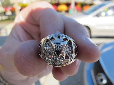 Mason 10k Yellow Gold Daimond Masonic Freemason Mens Ring Size 10 1/2