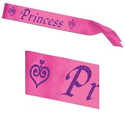Princess Satin Pink Wedding Bachelorette Party Fancy Dress Sash