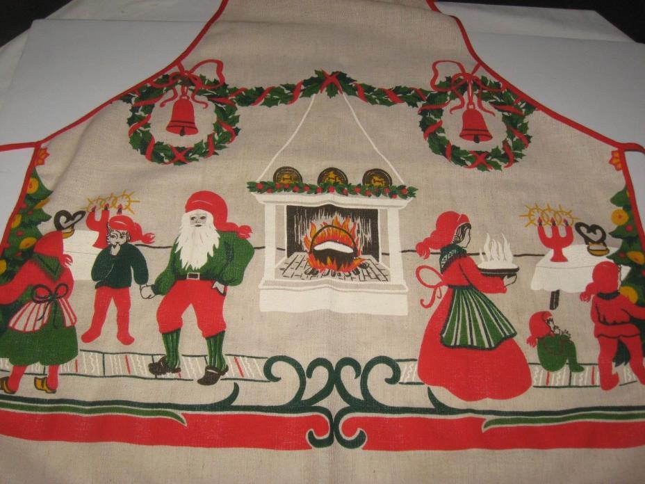 Vintage Santa Claus Christmas apron linen Christmas bib apron never worn