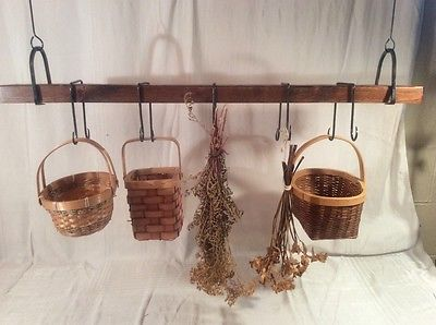 Dixie Forge Blacksmith Handmade Wood Hanging Rack , Baskets ,Herbs & More