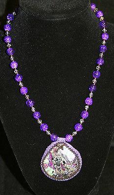 New Handmade Purple Crackle Glass Bead Necklace with Sea Sediment Jasper Pendant