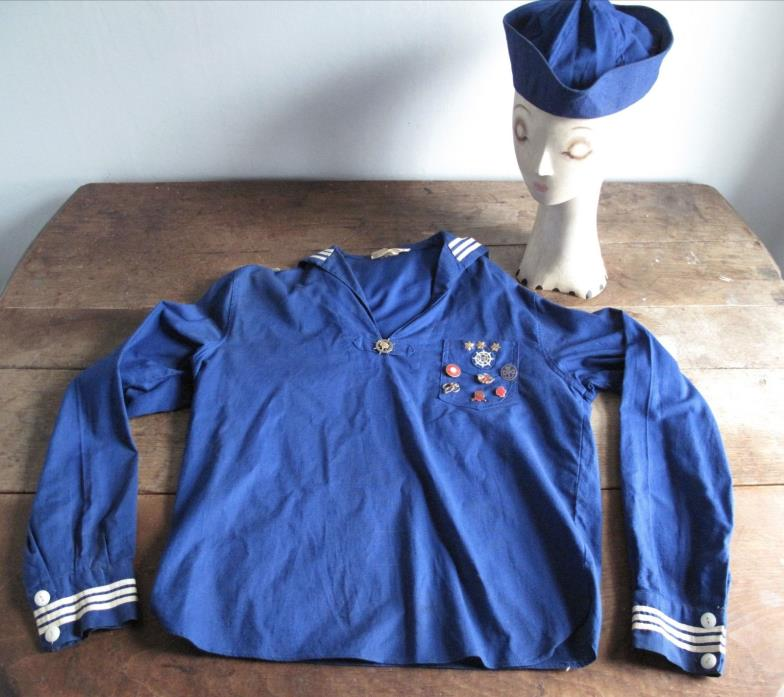 Vintage 1930s Girl Scout Mariner Uniform - Blouse Hat - Pins