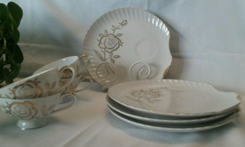 Snack and Tea set, Gold Embossed
