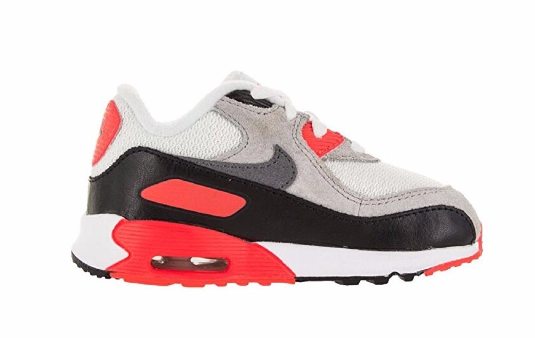 Nike Kids Boys Toddlers Air Max 90 Prm Mesh (TD) Running Shoe Size 9 White Red