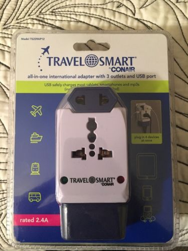 Travel Smart by Conair All in One International Adapter w/ 3 Outlets/USB Port