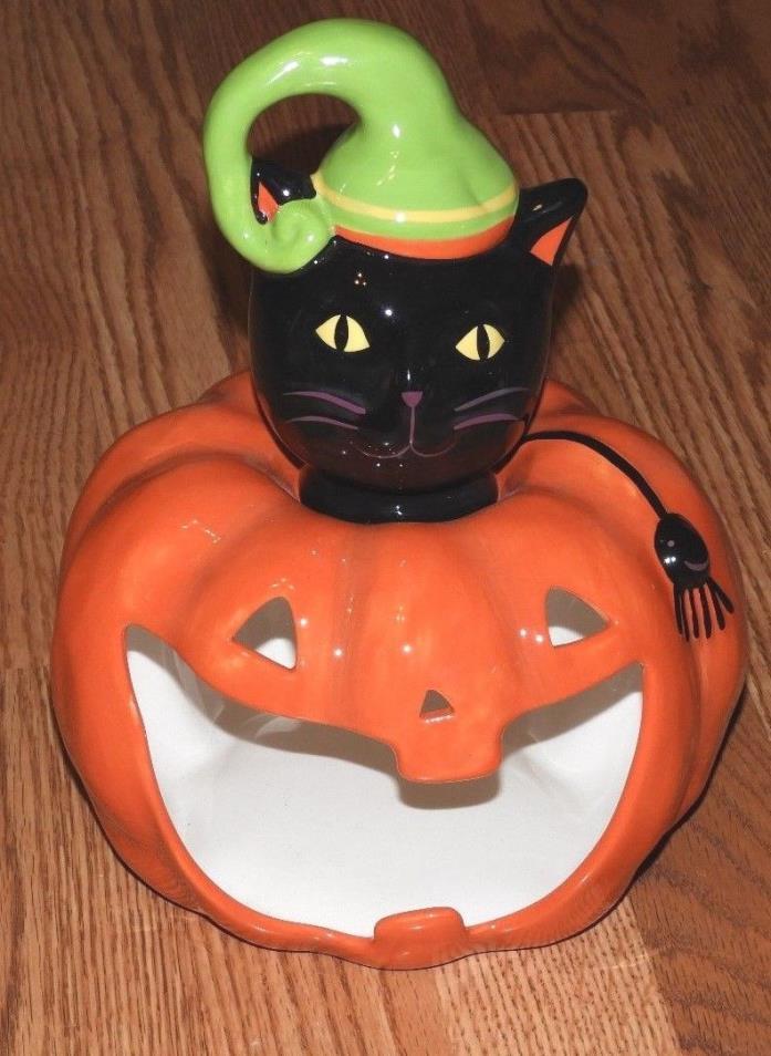 KOHLS HAPPY HALLOWEEN PUMKIN/ CAT CERAMIC CANDY DISH /CANDLE HOLDER 11