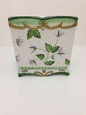 Ceramic Tissue Box Cover Holder  Floral Flower Gold  White  Green Purple