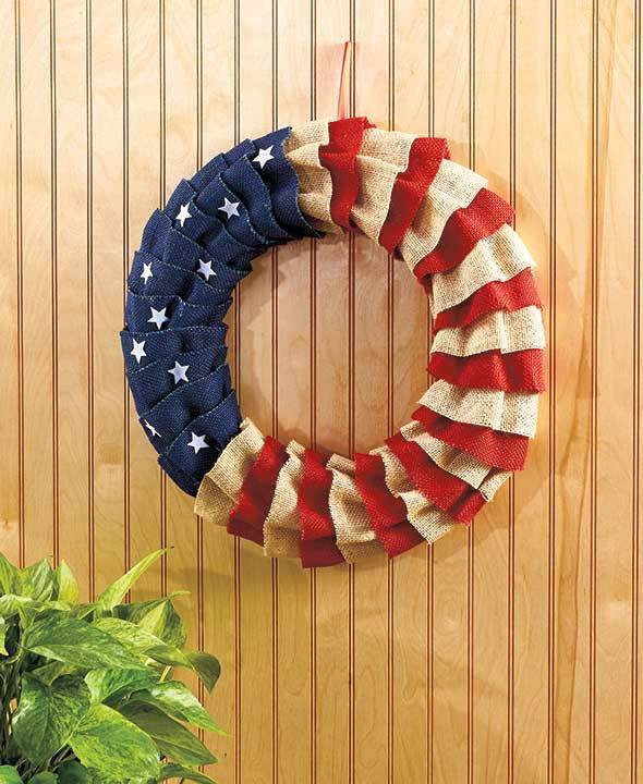 17 Inch Americana Wreath Outdoor Decor Porch Decor Garden Decor Plaque New