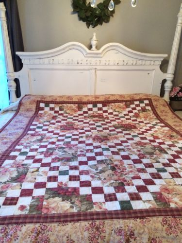 VINTAGE QUILT SHABBY COTTAGE GARDEN CHIC FLOWER ?? PRINT COTTON FRENCH