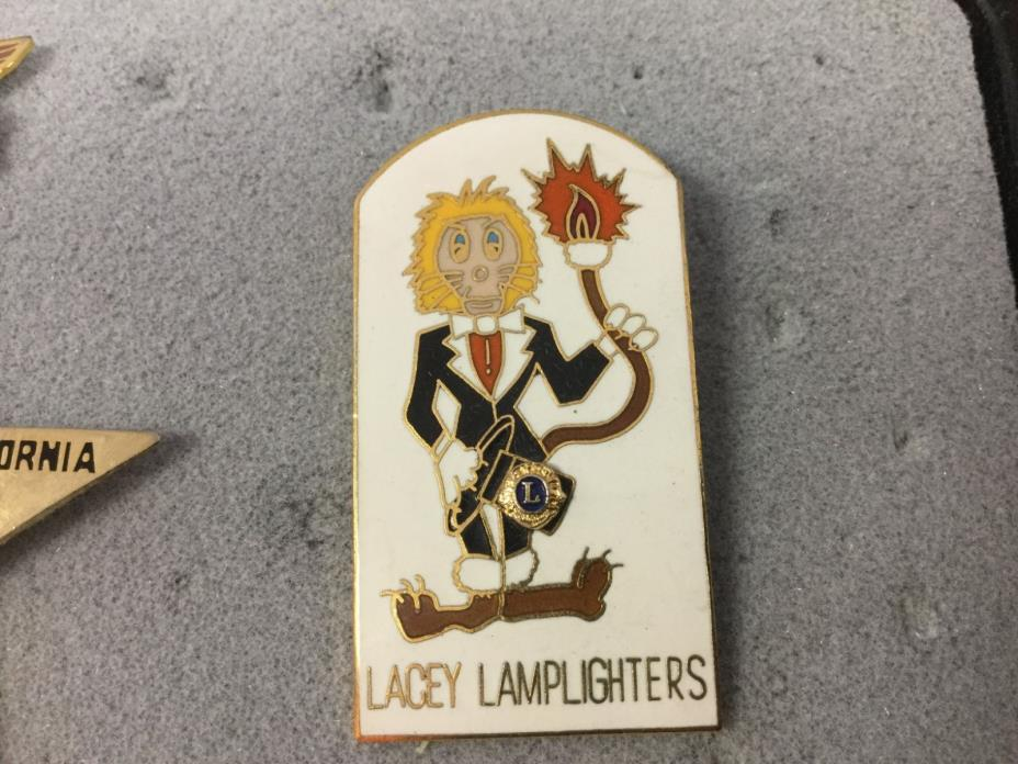 Vintage RARE Enamel Lacey Lamplighters Lions Club Lapel Hat Pin