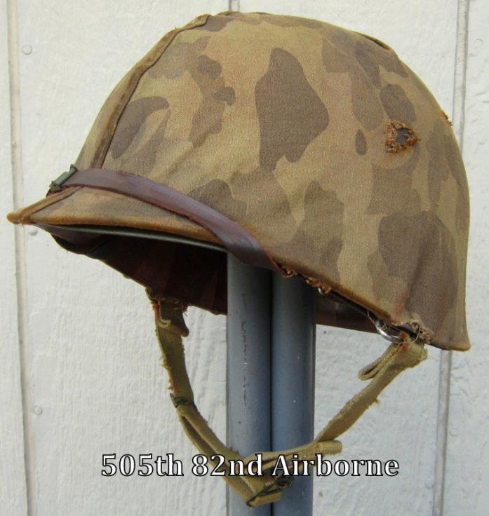 WWII USMC M1 Helmet & Liner US Marine Camo Cover Front Seam