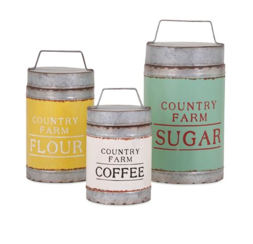 Farmhouse Country Set Lidded Flour Sugar Coffee canisters kitchen decor 88665-3