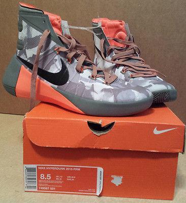 New Men Sz 8.5 NIKE HYPERDUNK 2015 PRM Basketball Shoe $150 749567-001 Gray