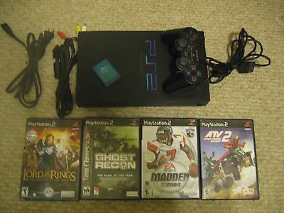 Sony PlayStation 2 PS2 Console Fat Black Bundle w/ 4 Games - Works Great!