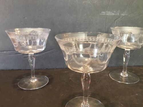 Set 5 Vintage Etched Stemmed Crystal Sherbet Dessert Cups Dishes Art Deco Swag
