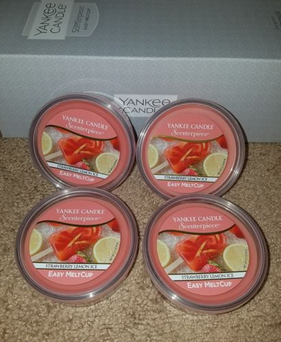 Yankee candle strawberry lemon ice melt cups set of 3 NEW pink wax scenterpiece