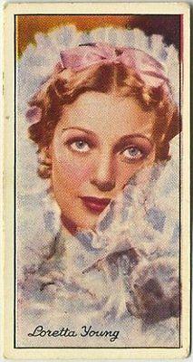 Loretta Young 1935 Carreras Famous Film Stars Tobacco Card #25
