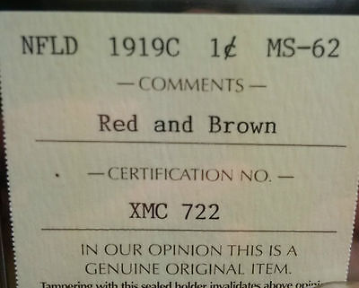 Newfoundland One Cent - ICCS - MS-62 Red and Brown