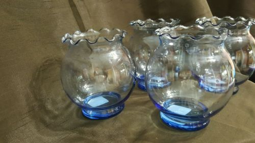 Anchor Hocking Blue Glass Globes Set of 4 NEW wTags Decor Wedding Holiday Home
