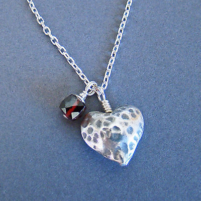 U&C Sundance Garnet & Oxidized Hammered 925 Sterling Silver Heart Chain Necklace