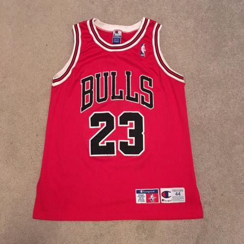 Authentic Chicago Bulls Michael Jordan Champion Jersey 44 Sewn NBA