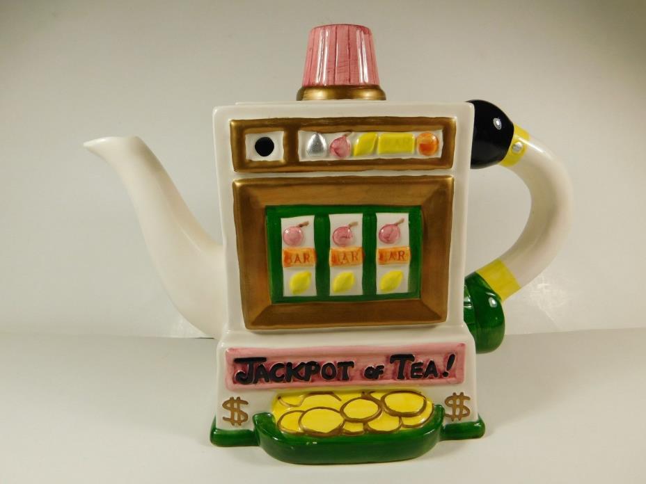 FITZ & FLOYD 1995 JACKPOT OF TEA TEAPOT