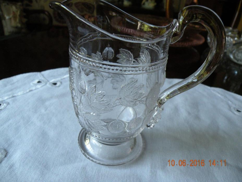 Vintage Cut Pressed Glass Embossed Cherry Pattern Pitcher / Creamer