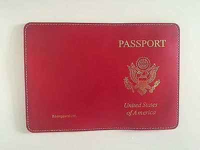 BAEKGAARD LEATHER RED PASSPORT COVER/GOLD LETTING NEW!