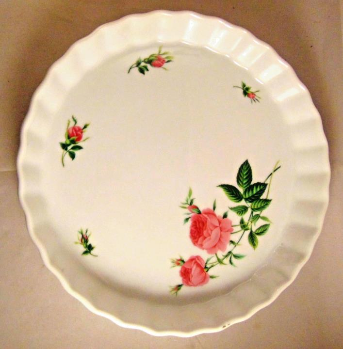 Christine Holm Ceramic Quiche Tart Pan Fluted Pink Rose Pattern BakeWare Pie
