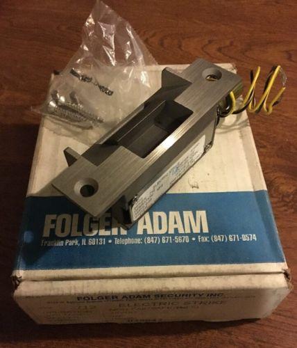NEW FOLGER ADAM 712 NON-FAIL SAFE NFS ELECTRIC DOOR STRIKE 12VDC US32D