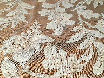 2 Vintage White Lace Curtain Panels French Country Shabby Chic