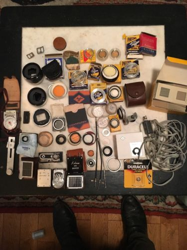 Large Lot Of Vintage 30s-60s Camera Accessories Photo Equipment Agfatron Flash