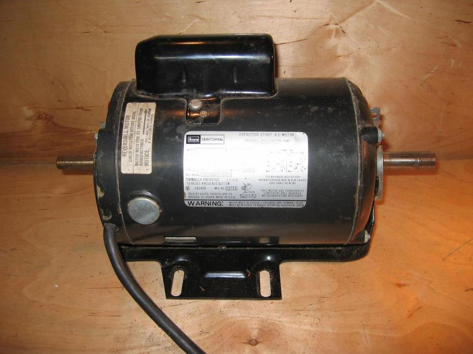 Craftsman Belt Drive Table saw motor 1 HP Dual shaft  # 113.12171 RUNS QUIETS EX