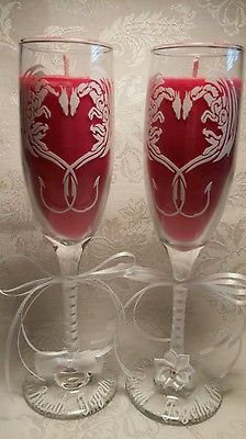 Dragon Wedding Anniversary Champagne Soy Candle Flutes