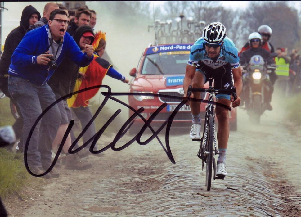 Tom Boonen Signed 5X7 inches 2012 Paris–Roubaix Omega Pharma-Quick Photo