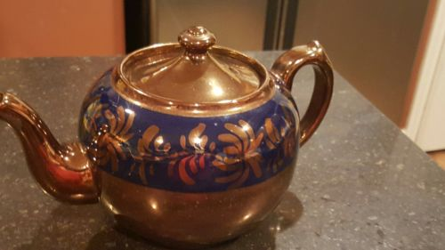 Antique Copper Luster Teapot-Blue/Copper Floral Design-England-Excellent :-)