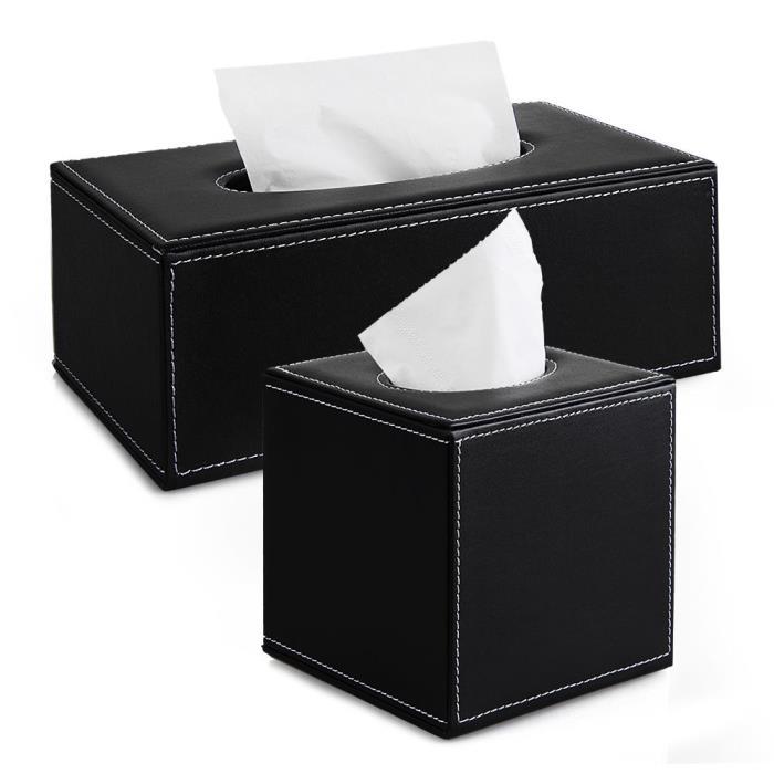 Black PU Leather Tissue Box Cover Napkin Holder Case Home Office Car Decor Sales