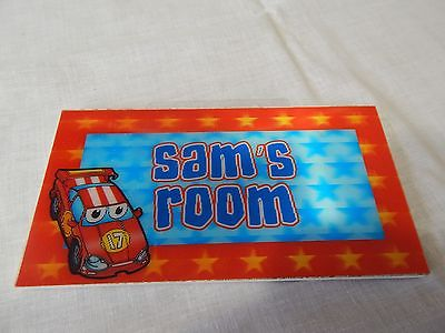 sam's Room Boy's SIGN Door Hanging Child's Home Decor Race Car Red #17 3d